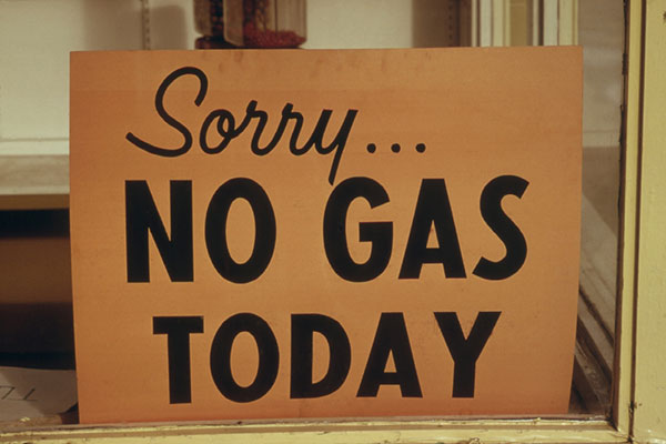 No Gas sign in window display